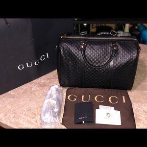 Gucci Micro-Guccissima Boston Top Handle Black Bag